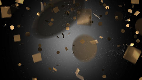 Gold confetti in black on a white background CG動画素材
