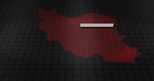 Futuristic Red digital ominous map of Iran Animation