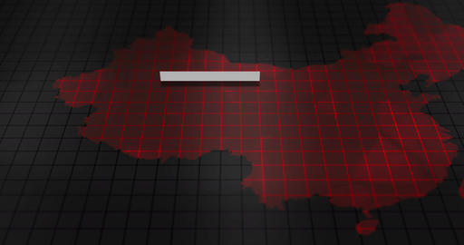 Futuristic Red digital ominous map of China Animation