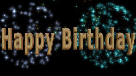 Happy birthday video with 3d inscription and colorful firework on black backgrou Animation