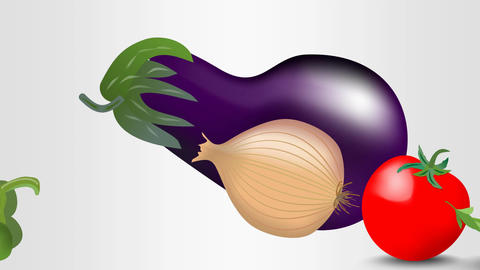 Animated group of vegetables, eggplant, onion, tomato, green pepper, pea pod. Pr Animation