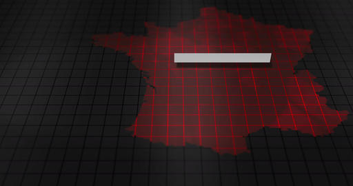 Futuristic Red digital ominous map of France Animation