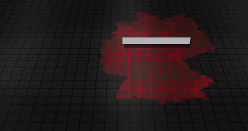 Futuristic Red digital ominous map of Germany Animation
