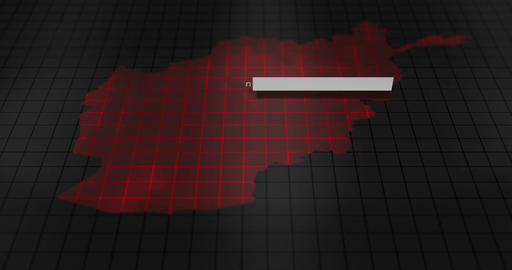 Futuristic Red digital ominous map of Afghanistan Animation
