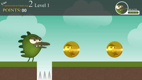A generic gameplay animation of a character collecting coins and earning points Animation