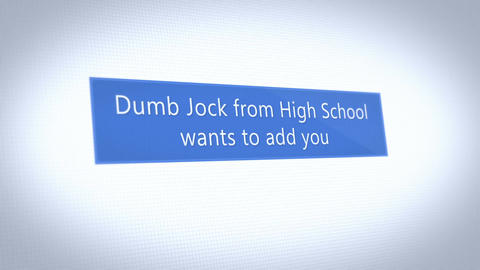 A fictional social media pop up notification of a high school jock trying to add Animation