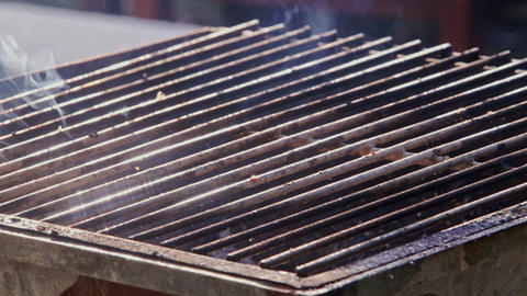 Closeup Person Roasts Meat on Fire on Barbecue Grid Footage