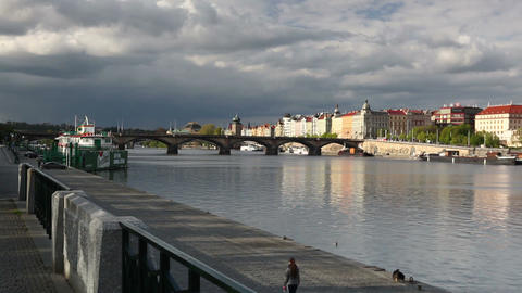 Prague panorama with Palacky bridge Footage