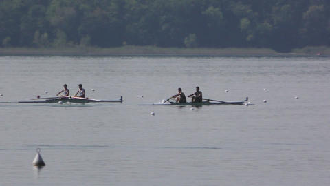 Rowing Championship Coxless Pairs Man Race Footage
