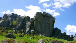 Rocky landscape dominates the skyline of Ilkley Moor, Yorkshire, UK Footage
