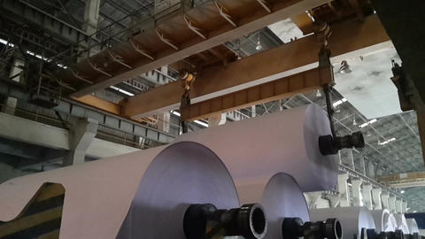 Paper Reel being carried overhead Footage