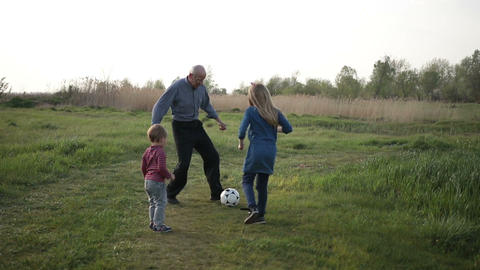 Toddler boy playing soccer with family outdoors Footage