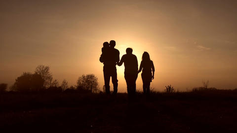 Family silhouettes on spirng sunset in the meadow Footage