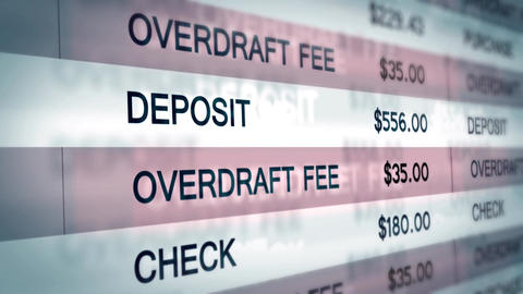 Overdraft Fee Computer interface scrolling upwards Animation