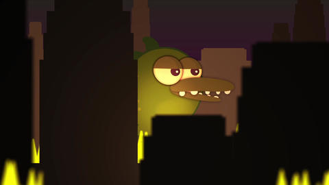 Giant monster attacks a cartoon fiery dark city at night Animation