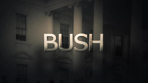 Political foreboding slow pan of President George Bush Animation