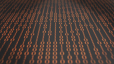 Computer binary code scrolling through a clack and white Computer environment Animation