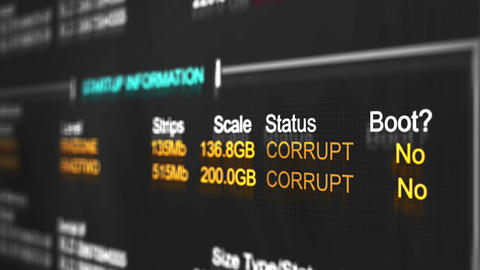 Computer interface of a corrupt RAID software display prompt Animation