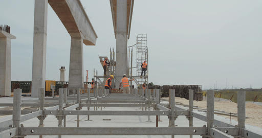 Large highway construction site with workers and heavy construction tools Live Action