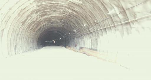 Steadycam shot inside a tunnel under construction Footage