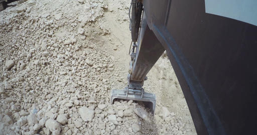 POV shot from a large excavator working on a construction site Live Action