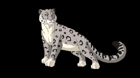 Snow Leopard Stands and Looks Around CG動画