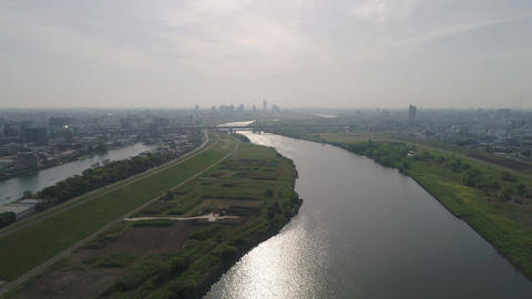 View of the river seen from the sky (30fps) Footage