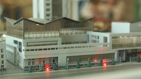 Motion Past City Miniature Model to Participants Flow Footage