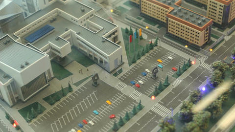 Upper View of Realistic Architectural City Model Footage