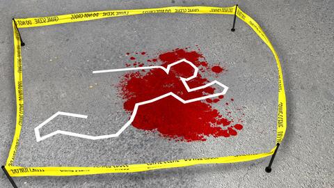 Fresh Crime scene. Do not cross. Spot of a blood Animation