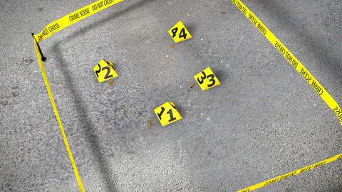 Set of four yellow marker of crime scene Animation