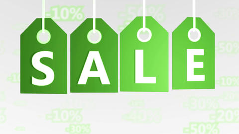 Green hanging sales tags. Shopping sales concept Animation