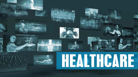 Healthcare Technology with Moving Screens Video Wall Background Looping Live Action