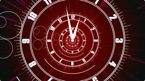 Twisted clock face. Time concept Animation
