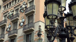 Spain Barcelona 031 Spanish city house and lantern in La Rambla Footage