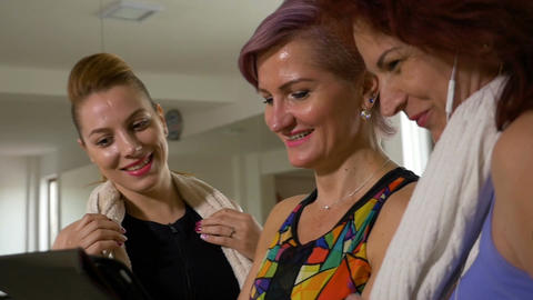 Group of happy women talking about fitness healthy... Stock Video Footage