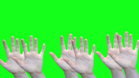 Green screen waving female hands at bottom of screen with matte Footage