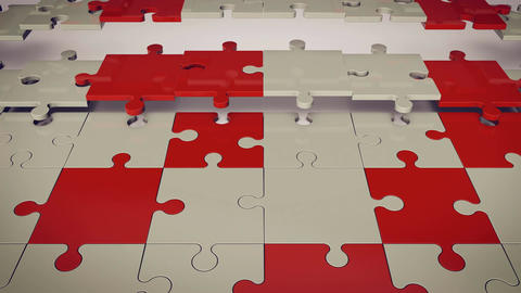 White and red puzzle pieces Animation