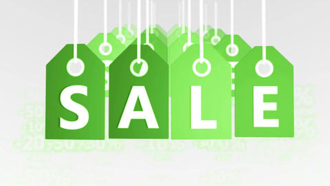 Sale concept, green hang-tags with percentage sign Animation