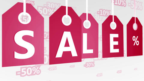 Red hanging sales tags Animation