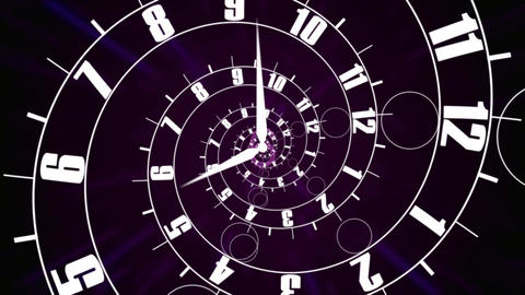 Business time concept. Clock face into infinity Animation