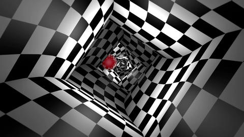 Red ball in a square chess tunnel (chess metaphor). 3D animation. Seamless Loopi Animation