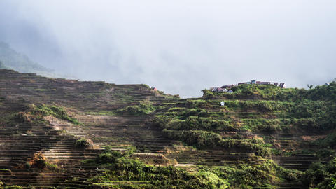 Rainy season in Ifugao province mountains with rice terraces fields. Philippines Footage