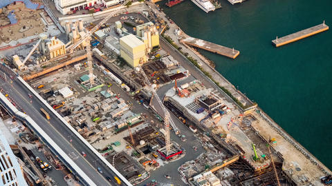 Aerial cityscape view at building construction. Hong Kong. Time lapse Footage