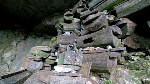 Panning Video Of Lumiang Burial Cave With Ancient Coffins. Sagada, Philippines stock footage