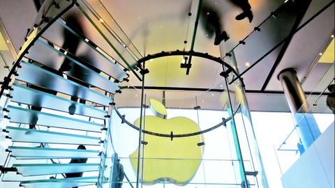 People Visiting Apple Store In City Center Modern Shop stock footage