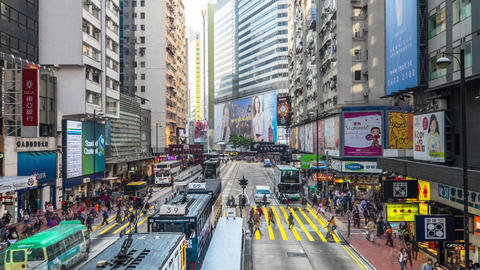 Time lapse of city crowded street. hong kong Footage