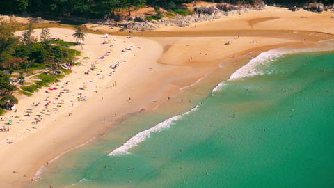 Tropical Sandy Beach Landscape From High View Point. Phuket, Thailand stock footage