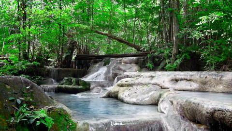 Jangle landscape with Erawan waterfall. Thailand. With original audio Footage