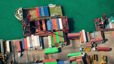 Cargo port terminal. Hong Kong. Time lapse Footage